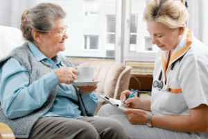 caregiver assessing her patient conditions